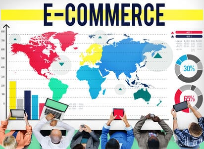 E-commerce overview of world map